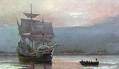 Mayflower in Plymouth Harbor by William Halsall