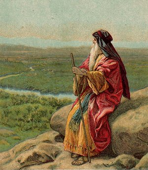 Moses gazing across the Jordan to the promised land